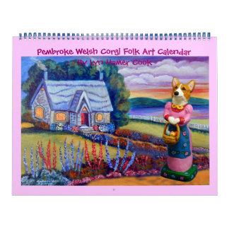 Pembroke-Walisercorgi-Volkskunst-Kalender Kalender