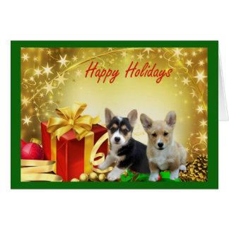 Pembroke-Walisercorgi-Weihnachtskarten-Geschenke Karte
