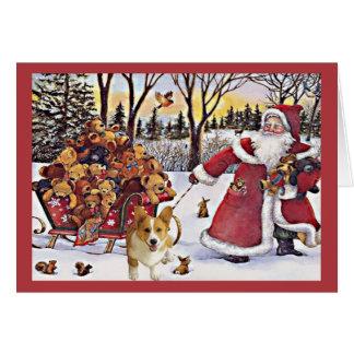 Pembroke-Walisercorgi-Weihnachtskarten-Sankt-Bären Karte