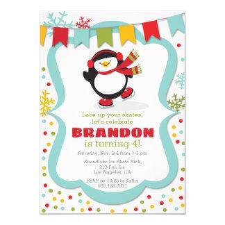 Penguin-Eis-Skate-Winter-Geburtstags-Party Karte