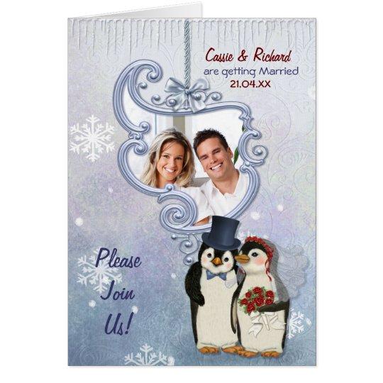 Penguin-Hochzeits-Foto-Einladung Grußkarte