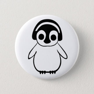 Penguin hört zum Musik-Abzeichen Runder Button 5,7 Cm