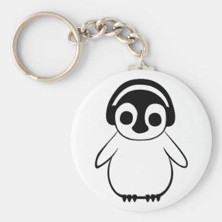 Penguin hört zum Musik-Abzeichen Schlüsselanhänger