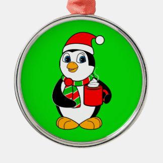 Penguin in Weihnachtsmannmütze-trinkendem Kakao Silbernes Ornament