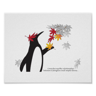 Penguin und Herbst-Blätter-Zitat-Fall-Jahreszeit Poster