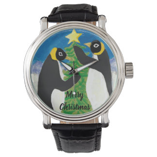 Penguin-Weihnachtskundenspezifisches schwarzes Armbanduhr