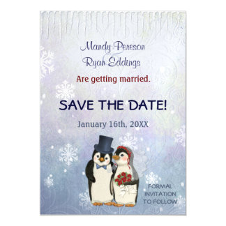 Penguin-Winter-Schneeflocken, die Save the Date Magnetische Karte