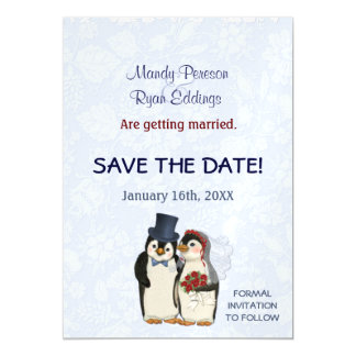 Penguin-Winter Wedding magnetisch Save the Date Magnetische Karte
