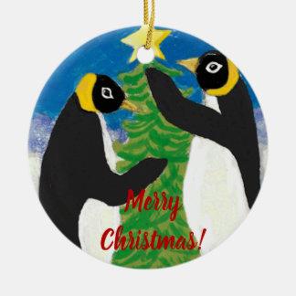 Penguine Weihnachtskreis-Verzierung Keramik Ornament