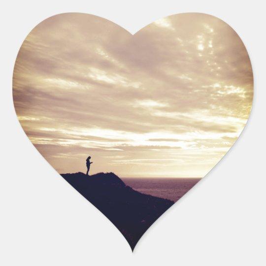 Pennard Klippen am Sonnenuntergang, Gower, Swansea Herz-Aufkleber