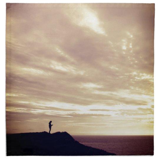 Pennard Klippen am Sonnenuntergang, Gower, Swansea Stoff Serviette