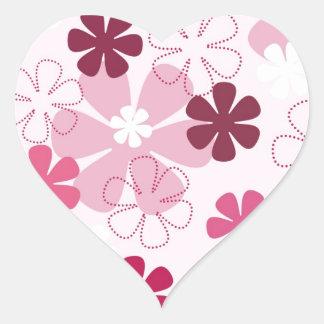 Pensées roses espiègles sticker cœur