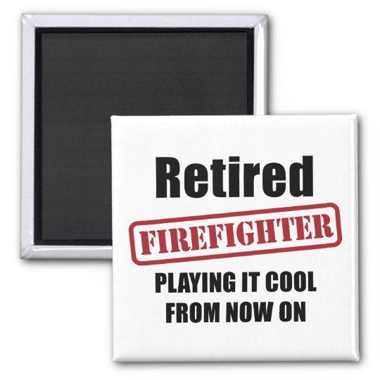 Pensionierter Feuerwehrmann Quadratischer Magnet