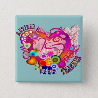 Pensioniertes Lehrer-künstlerisches Retro Herz Quadratischer Button 5,1 Cm