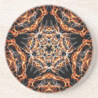 Pentagram-Feuer Sandstein Untersetzer