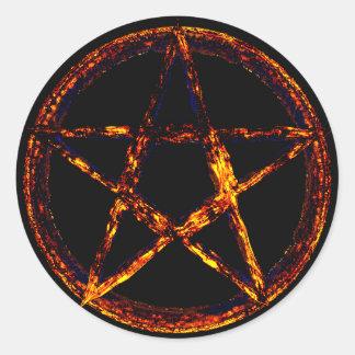 Pentagram-klassischer runder Aufkleber, glatt Runder Aufkleber