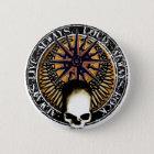 Pentagram Rock and roll skull Runder Button 5,7 Cm