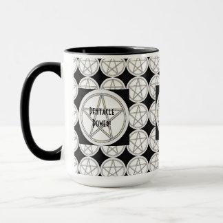 Pentagramm Schwarz-weiß ein Grau Tasse