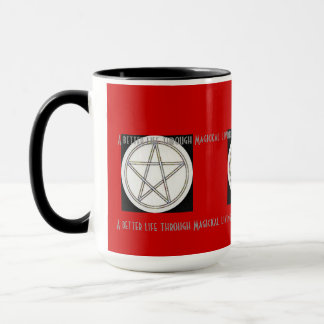 Pentagramm Schwarz-weiß ein grauer roter Tasse
