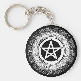 Pentagramme fleuri porte-clé rond