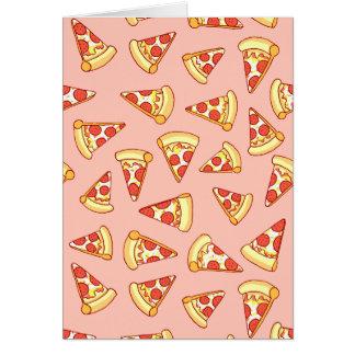 Pepperoni-Pizza, die Muster-Gruß-Karte zeichnet Karte