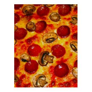 Pepperonis und Pilz-Pizza Postkarte