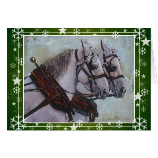 Percheron Entwurfs-Pferdeweihnachtskarte, grün Grußkarte