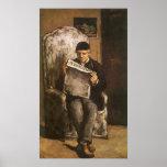 Père de la lecture d'artiste par Cezanne, Poster