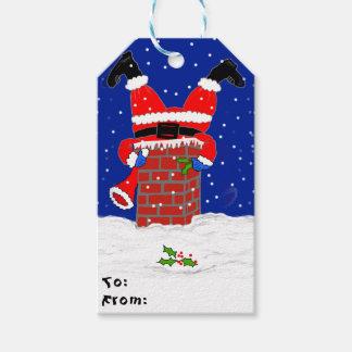Père Noël dans la cheminée sur des étiquettes de