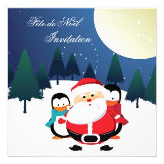 Père Noël et invitation de Manchot Fête de Noël