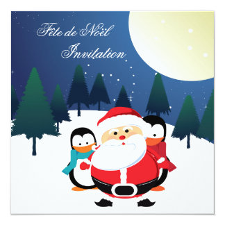 Père Noël et invitation de Manchot Fête de Noël Carton D'invitation 13,33 Cm