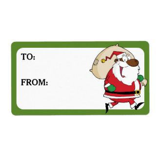 Père Noël noir courant a imprimé l'étiquette de Étiquette D'expédition