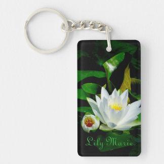 Perfekte weißes Wasser-Lilie und Knospe Schlüsselanhänger