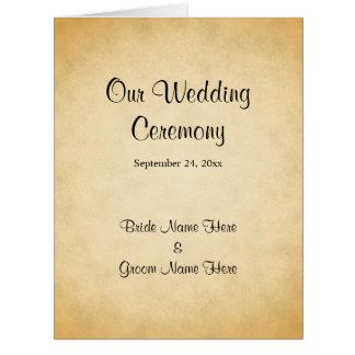 Pergament-Muster-Entwurfs-Hochzeits-Programm Karte
