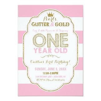 Perlen-Glitzer und Golderste Geburtstags-Einladung Karte