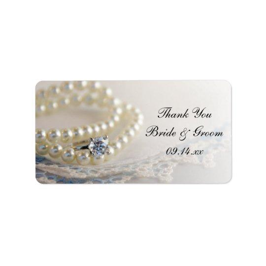 Perlen-Ring-danken blaue Spitze-Hochzeit Ihnen, Adressaufkleber