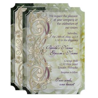 Perlen-Rolle u. weiße Chrysantheme, die Invite2 12,7 X 17,8 Cm Einladungskarte