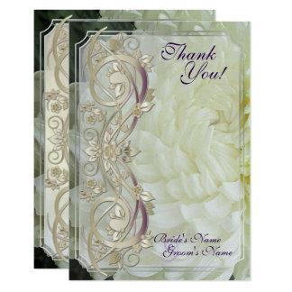 Perlen-Rolle u. weiße Chrysantheme Mittwoch. Danke 8,9 X 12,7 Cm Einladungskarte
