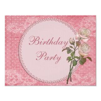 Perlen-u. Spitze-Shabby Chic-Rosen-Geburtstag 10,8 X 14 Cm Einladungskarte