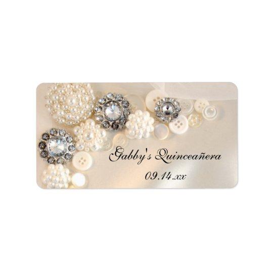 Perlen-und Diamant-Knöpfe Quinceañera Adressaufkleber