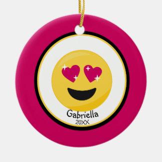 Personalisiert hören Sie Augen-Liebe Emoji Keramik Ornament