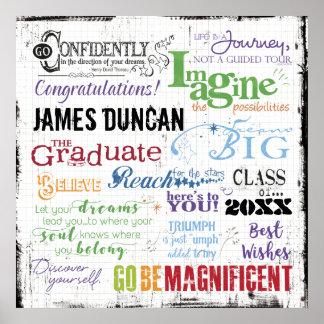Personalisierte Abschluss-Wort-Kunst Poster