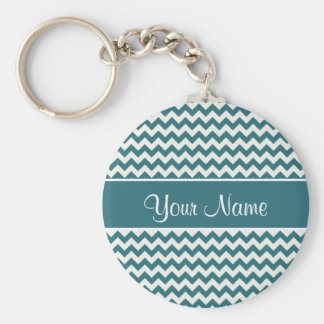 Personalisierte aquamarine blaue und weiße Sparren Standard Runder Schlüsselanhänger
