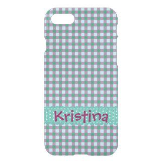Personalisierte aquamarine und lila Karos iPhone 8/7 Hülle
