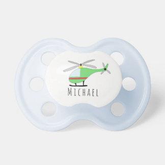 Personalisierte Baby-Jungen-Hubschrauber-Flugzeuge Schnuller