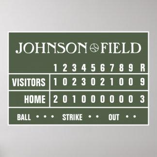 """Personalisierte Baseball-Anzeigetafel - 60"""" x 40"""" Poster"""