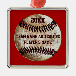 Personalisierte Baseball-Verzierungen, Ihre Quadratisches Silberfarbenes Ornament