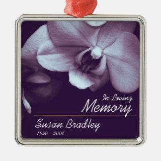 Personalisierte Begräbnis- Erinnerungsverzierung Quadratisches Silberfarbenes Ornament