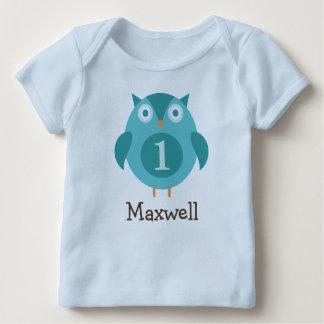 Personalisierte blaue Eule des Geburtstags-T - Baby T-Shirt