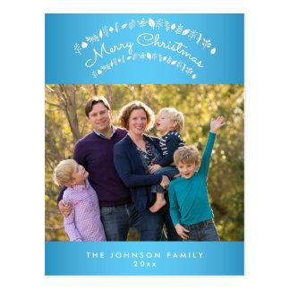 Personalisierte blaue frohe postkarte